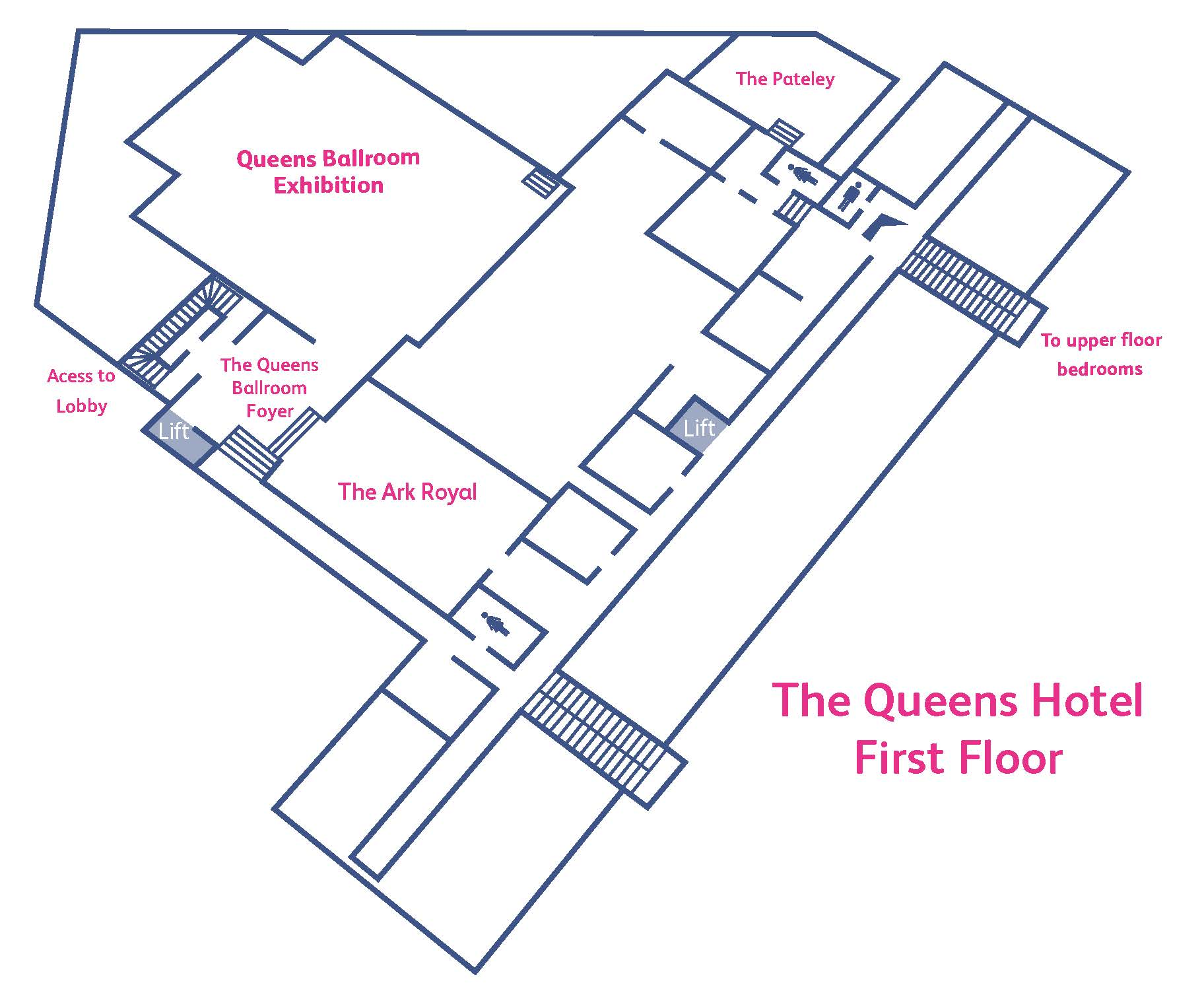 Floor plan of the first floor of the Queens hotel