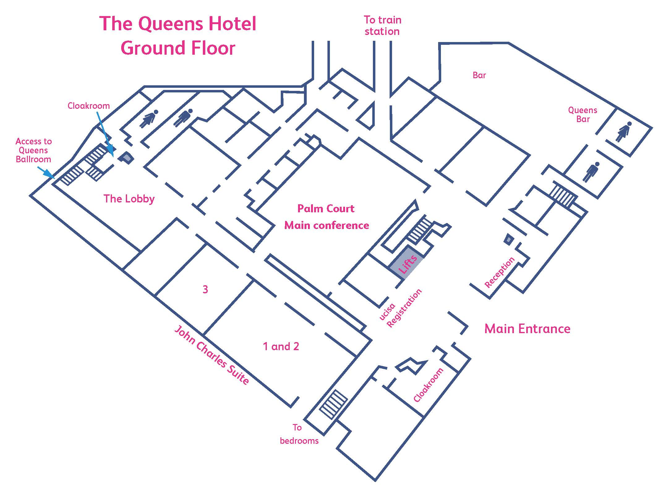 Ground floor layout of the The Queens hotel