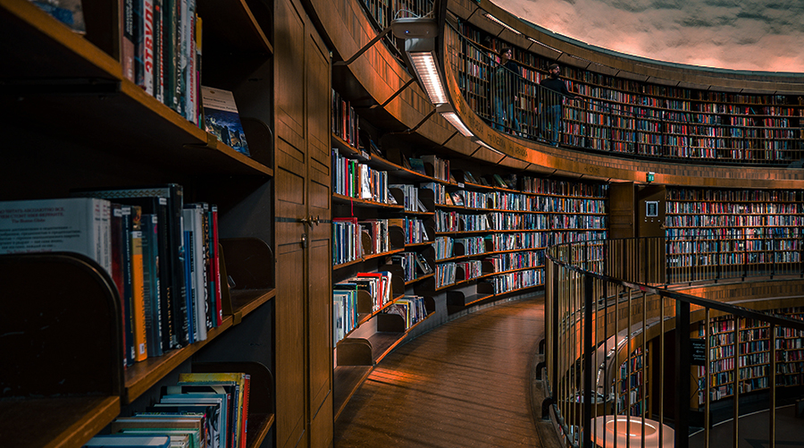 library shelves in a curved shape