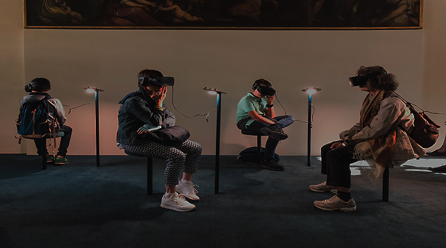 people in a room wearing AI headsets