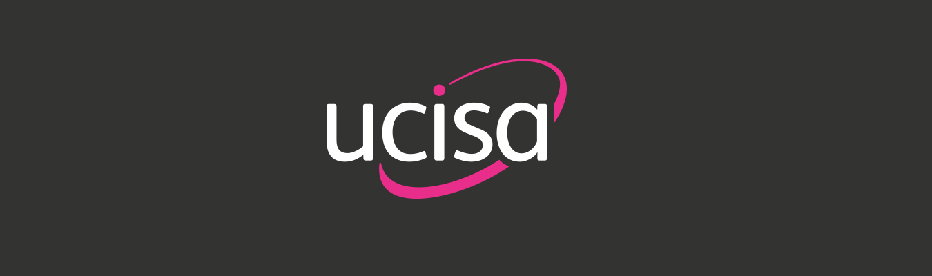 white and pink ucisa logo on grey background