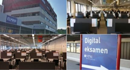 Colour photographs of the exterior and interior of the NTNU 'Exam Factory' building