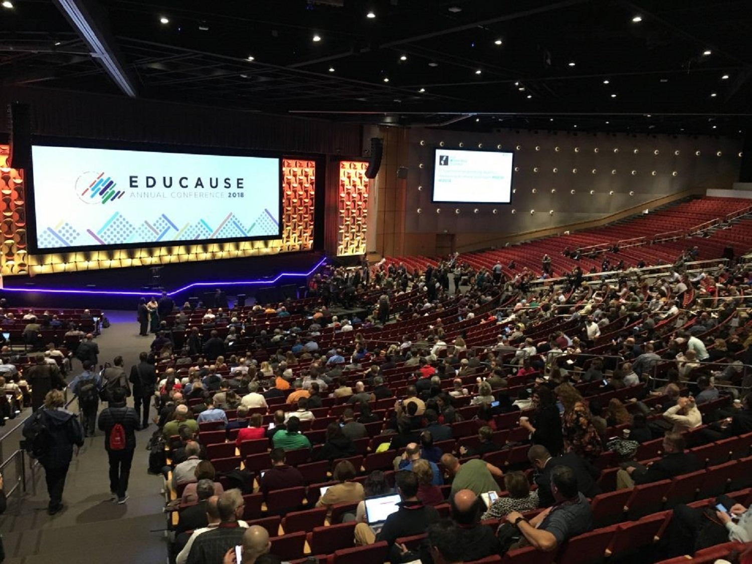 Photograph of Educase 18 annual conference lecture theatre with attendees
