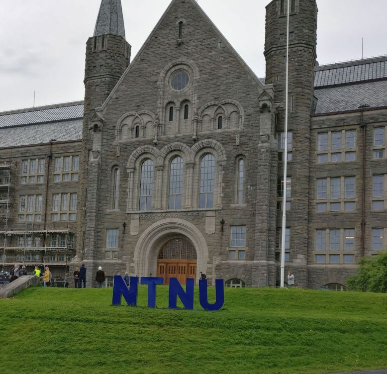 Colour photograph of part of the front of an NTNU (Norwegian University of Science and Technology)