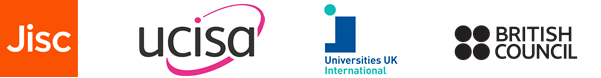 Logos for ucisa, Jisc, British Council and Universities UK