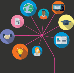 connected circles, integrated flat icons. Growth flower concept with mortar board, computer, technology, light bulb, certificate shaking hands icon