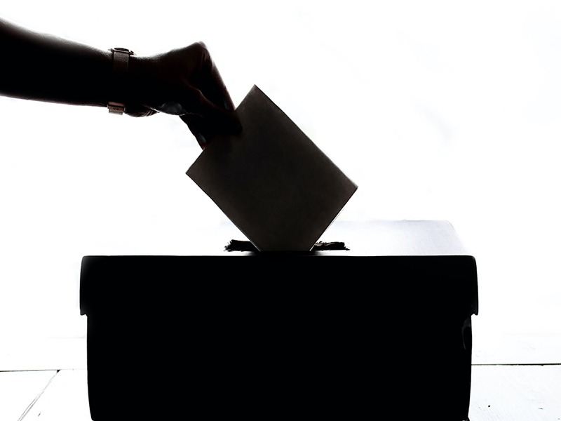 show of a hand putting a piece of paper in a voting box