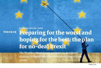 Screenshot of a webpage from the WonkHE site showing a man pulling a star from a representation of the EU flag