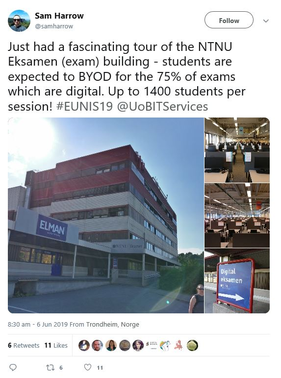 Image of Sam Harrow tweet of 6th June 2019 with photographs of the NTNU Eksamen (exam) building showing the exterior of the building and interior rooms with desks