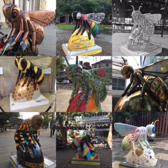 Colour photographs of bee statues in Manchester