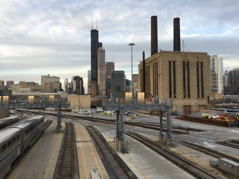 Photograp of Chicago skyline seen from the train tracks