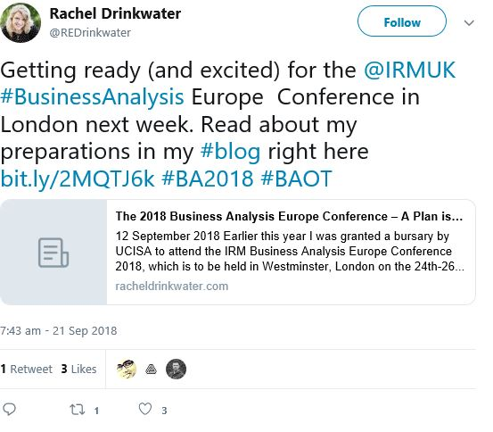 Image of Rachel Drinkwater tweet regarding getting ready for the IRM UK Business Analysis conference 2018